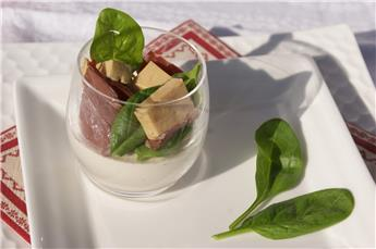 Panna cotta with truffle, foie gras and smoked duck breast - by Afternoon tea